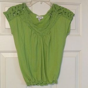 AEROPOSTALE  Small Lime Green Top Crochet Accents